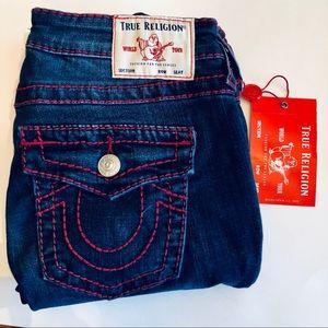 True Religion- NWT Halle Ruby Red Big T w Flap, 28